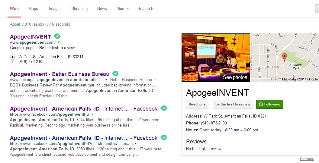 Apogee Google Listing